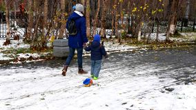 Activity of Russian when winter came stock images