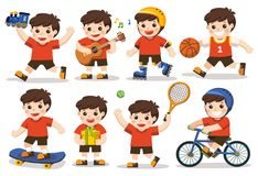 Activity set of Kid. Activity set of a kid: A cute boy playing with toys. Playing sport including basketball, athletic, tennis, bicycle, skate rolling. Playing royalty free illustration