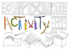 Activity stationary and sewing tool Royalty Free Stock Image