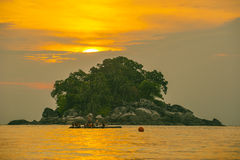Activity during sunset. Took this photo at one of small island with some of people on vacation Stock Image