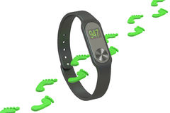 Activity tracker or fitness bracelet, pedometer concept. 3D rend Stock Photography