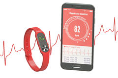 Activity tracker or fitness bracelet with smartphone, 3D renderi. Ng isolated on white background Stock Photo