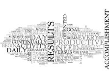 Activity Vs Accomplishment Word Cloud Stock Photo