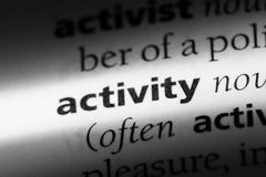 Activity. Word in a dictionary.  concept stock photography