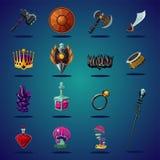 Activo legendario Sistema de artículos y del recurso mágicos para el juego de la fantasía del ordenador Iconos de la historieta f stock de ilustración