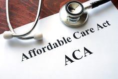 Acto asequible ACA del cuidado Imagen de archivo libre de regalías
