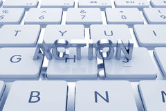 Actoion text on computed keyboard Royalty Free Stock Photos