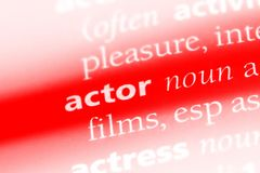Actor. Word in a dictionary.  concept Stock Photo