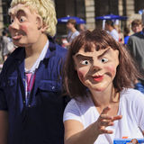 Actor & Actress In Masks at Edinburgh Festival Royalty Free Stock Image