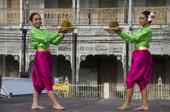 Actor and actress thai people dance thai style show people on st Royalty Free Stock Photo