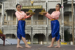 Actor and actress thai people dance thai style show people on st Royalty Free Stock Photos