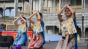 Actor and actress thai people dance thai style show people on state stock footage