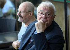 Actor Alexandru Arsinel. Romanian actor Alexandru Arsinel ( R ) attends at a press conference, in Bucharest, Romania, May 30 2015 Royalty Free Stock Images