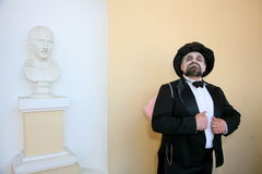 Actor animator Dmitry Giljov in a surreal costume in the Palace of Pavlovsk Palace Park. Stock Image