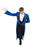 Actor in blue tail-coat. Portrait of actor in tail-coat in white background Stock Images