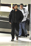 Actor Christian Bale with beard at LAX airport Stock Images