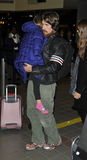 Actor Christian Bale with wife & daughter at LAX Stock Images