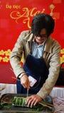 Actor Cong Ninh make traditional cake Stock Image
