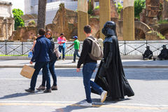 Actor in costume Darth Vader in Rome, Italy Royalty Free Stock Photos