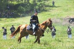 Actor de la guerra civil a caballo Imágenes de archivo libres de regalías