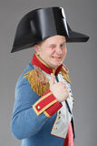 Actor dressed as Napoleon. Historical costume Royalty Free Stock Photography