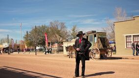 An actor dressed as a wild west sheriff in Tombstone, Arizona