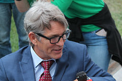 Actor Eric Roberts at the shooting of the film Maximum blow Stock Photo