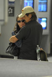 Actor Josh Brolin with wife Diane at LAX Royalty Free Stock Photos