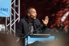 RENO, NV - October 25, 2018 - Actor Kendrick Sampson waving at a stock images