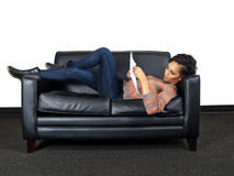 Actor lying and reading a script Royalty Free Stock Photos