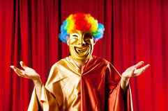 Actor with maks -  funny theater concept Stock Photography