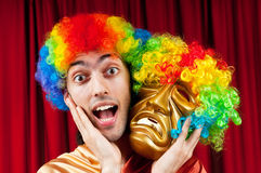 Actor with maks - funny theater concept Royalty Free Stock Photos