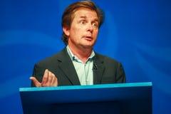Actor Michael J De vos levert een adres aan IBM Lotusphere royalty-vrije stock foto's