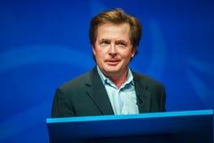 Actor Michael J De vos levert een adres aan IBM Lotusphere stock foto's