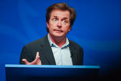 Actor Michael J. Fox delivers an address Stock Photo