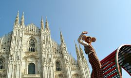 Actor hamster and Duomo of Milan  Stock Image