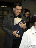 Actor Orlando Bloom ,Miranda Kerr & baby at LAX Royalty Free Stock Photos