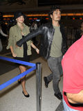 Actor Orlando Bloom with wife Miranda Kerr at LAX Royalty Free Stock Images