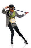 Actor Performing Dance. African American actor performing with hat and cane over white background Stock Photos