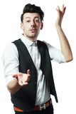 Actor playing. The man in the image of an actor playing a role Royalty Free Stock Images