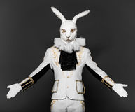 Actor posing in white rabbit suit on black Royalty Free Stock Images