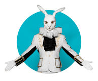 Actor posing in white rabbit suit on color  blue Stock Photos