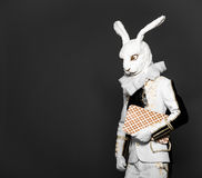 Actor posing in white rabbit suit with playing Royalty Free Stock Photography