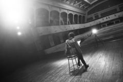 Actor rehearsing on stage royalty free stock images