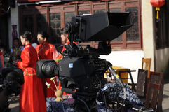 Actor's in Suzhou China Filming a movie scene Royalty Free Stock Photography