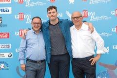 Actor Sam Clafin, Pietro Rinaldi and Claudio Gubitosi Stock Images