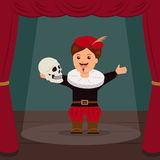 Actor on scene of the theater, playing a role Hamlet. Concept World Theatre Day Royalty Free Stock Images