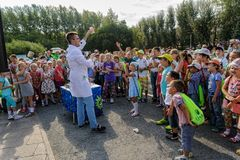 The actor shows scientific focuses. Tyumen. Russia Royalty Free Stock Image