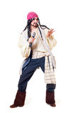 The actor in a suit of the pirate. A white background Stock Photo