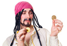 The actor in a suit of the pirate. A white background royalty free stock photo
